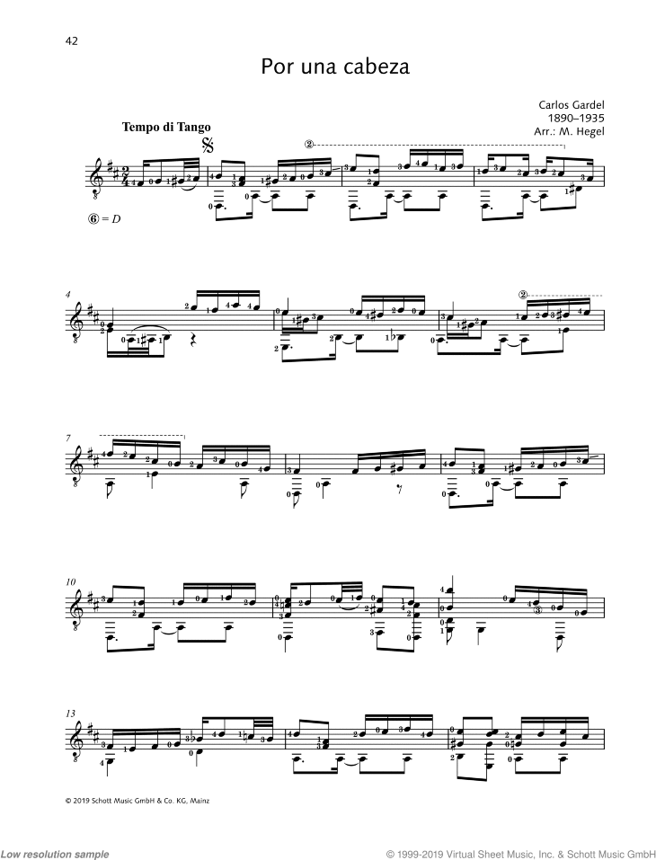 Por una cabeza sheet music for guitar solo by Carlos Gardel, classical score, easy/intermediate skill level