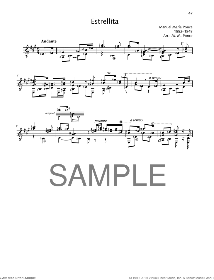 Estrellita sheet music for guitar solo by Manuel Maria Ponce, classical score, easy/intermediate skill level