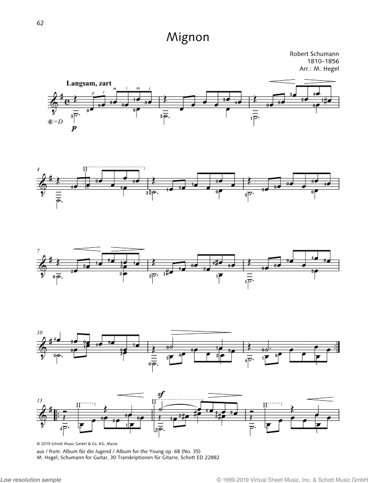 Mignon sheet music for guitar solo by Robert Schumann, classical score, easy/intermediate skill level