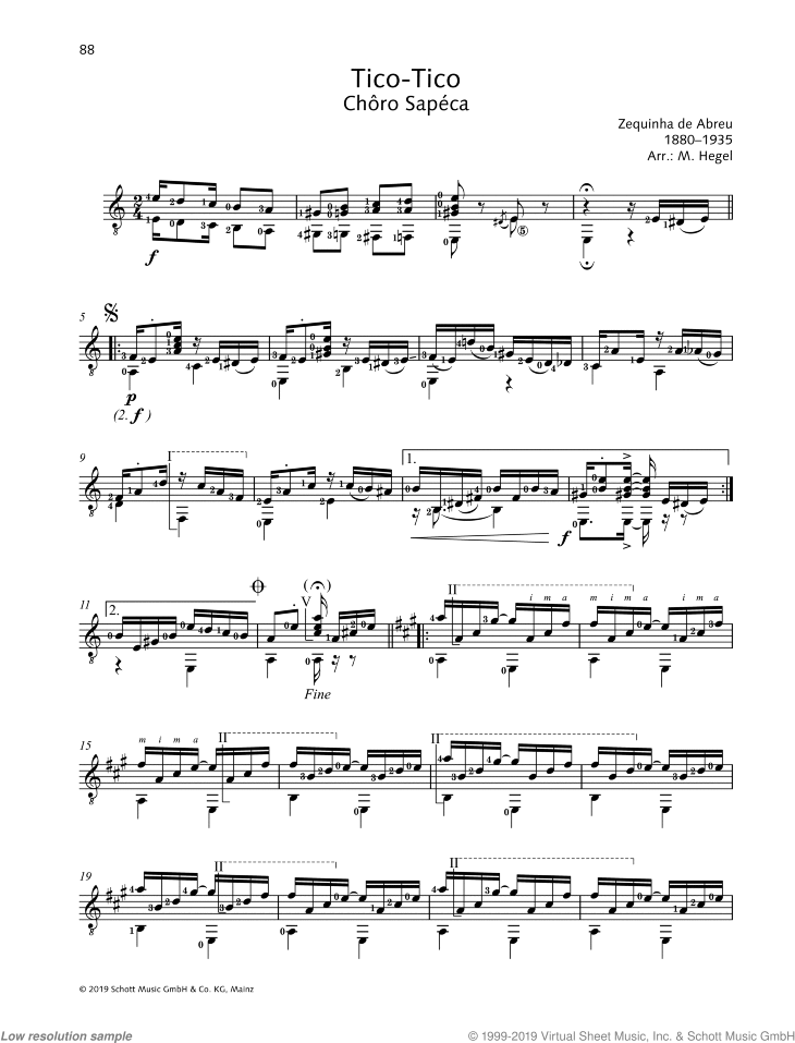 Tico-Tico sheet music for guitar solo by Zequinha de Abreu, classical score, easy/intermediate skill level