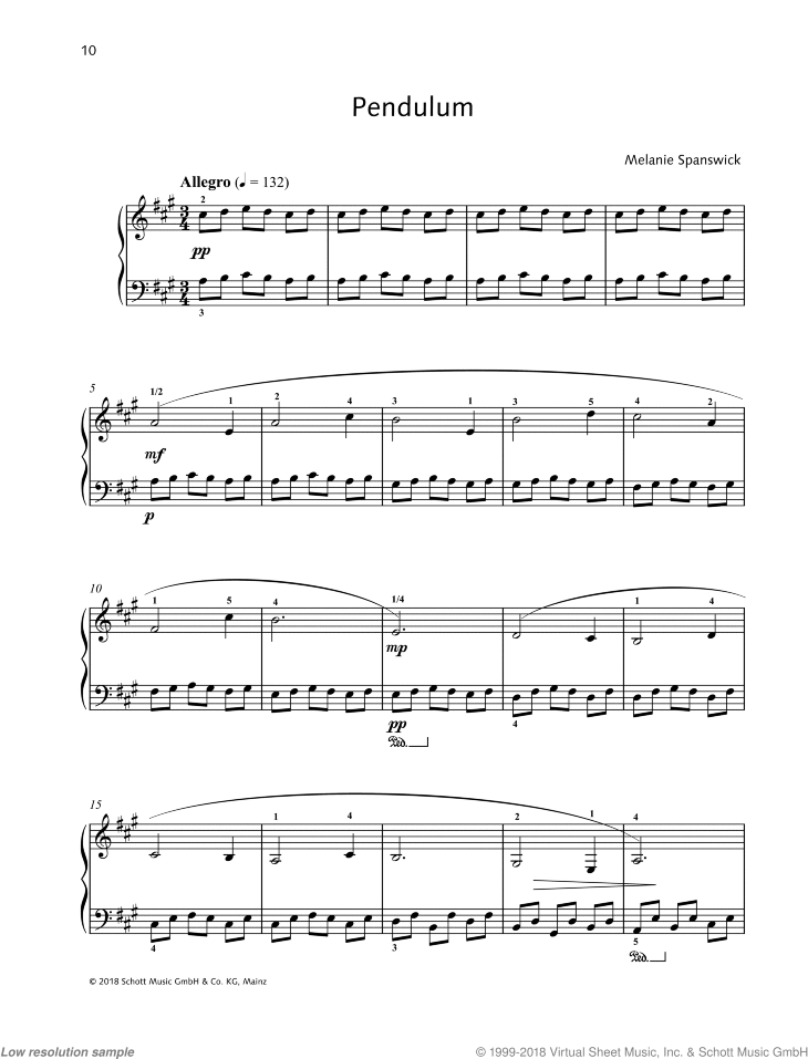 Pendulum sheet music for piano solo by Melanie Spanswick, classical score, easy/intermediate skill level