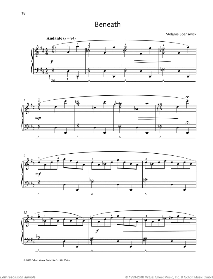 Beneath sheet music for piano solo by Melanie Spanswick, classical score, easy/intermediate skill level