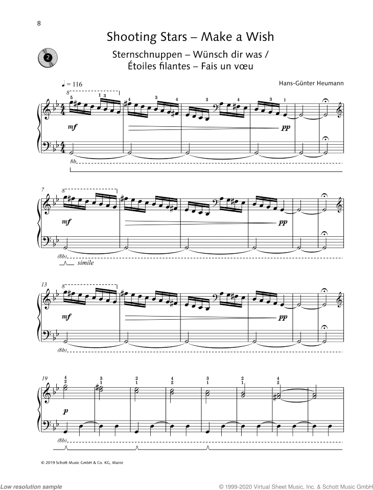 Shooting Stars sheet music for piano solo by Hans-Gunter Heumann, easy skill level