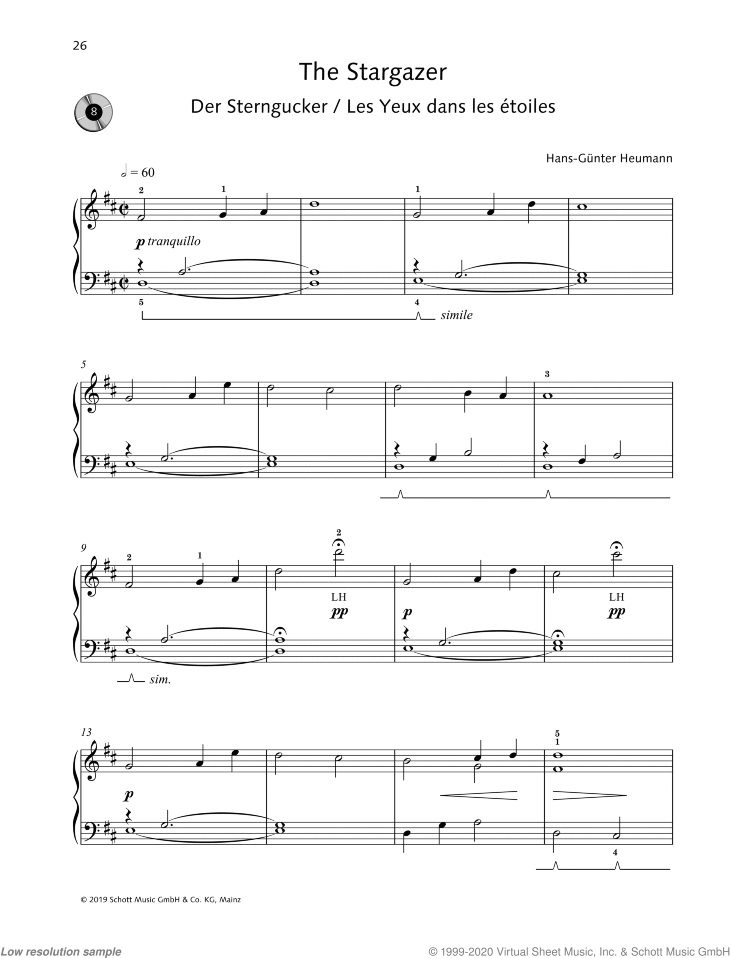 The Stargazer sheet music for piano solo by Hans-Gunter Heumann, easy skill level