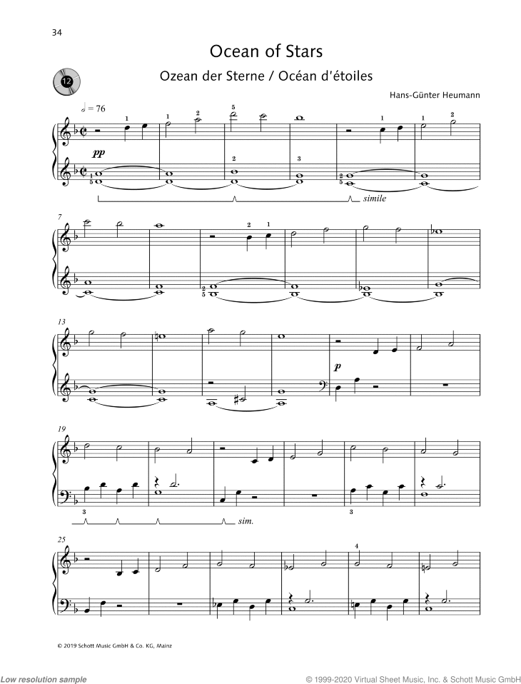 Ocean of Stars sheet music for piano solo by Hans-Gunter Heumann, easy skill level