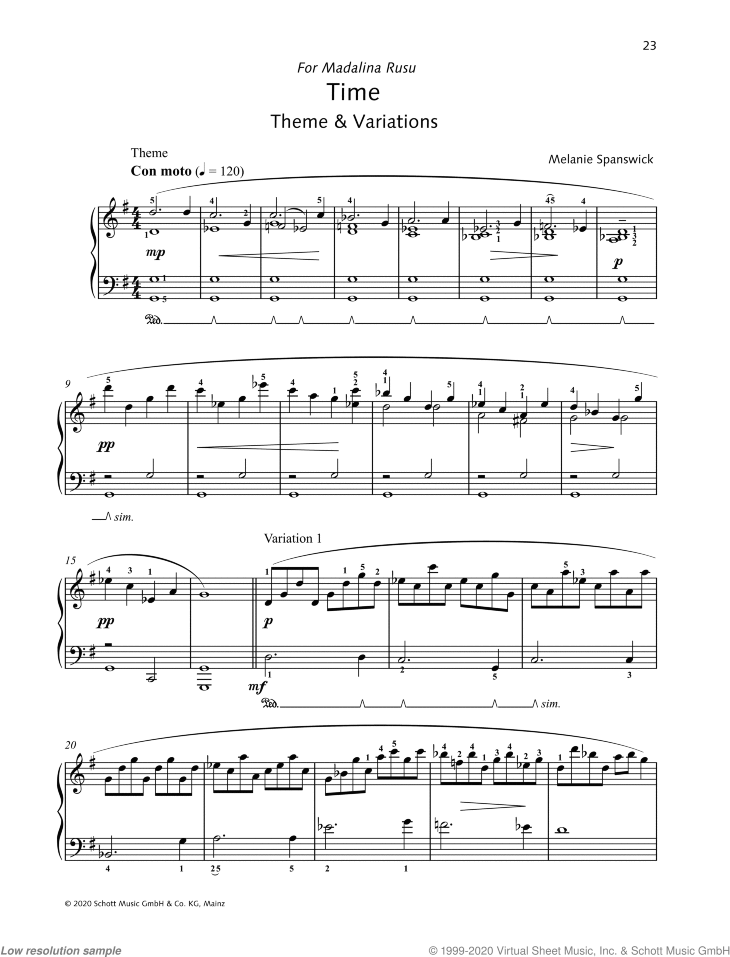 Time sheet music for piano solo by Melanie Spanswick, classical score, intermediate/advanced skill level