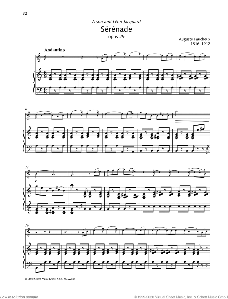Serenade sheet music for violin and piano by Auguste Faucheux, classical score, intermediate/advanced skill level