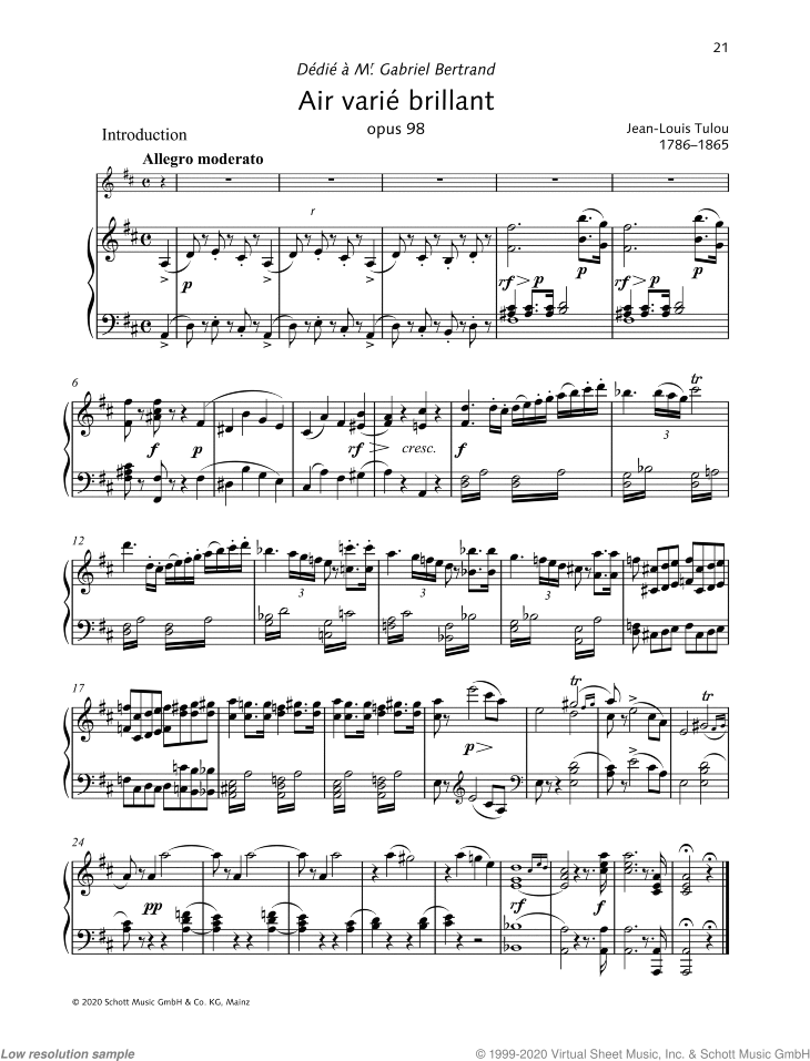 Air varie brillant sheet music for flute and piano by Jean-Louis Tulou, classical score, intermediate/advanced skill level