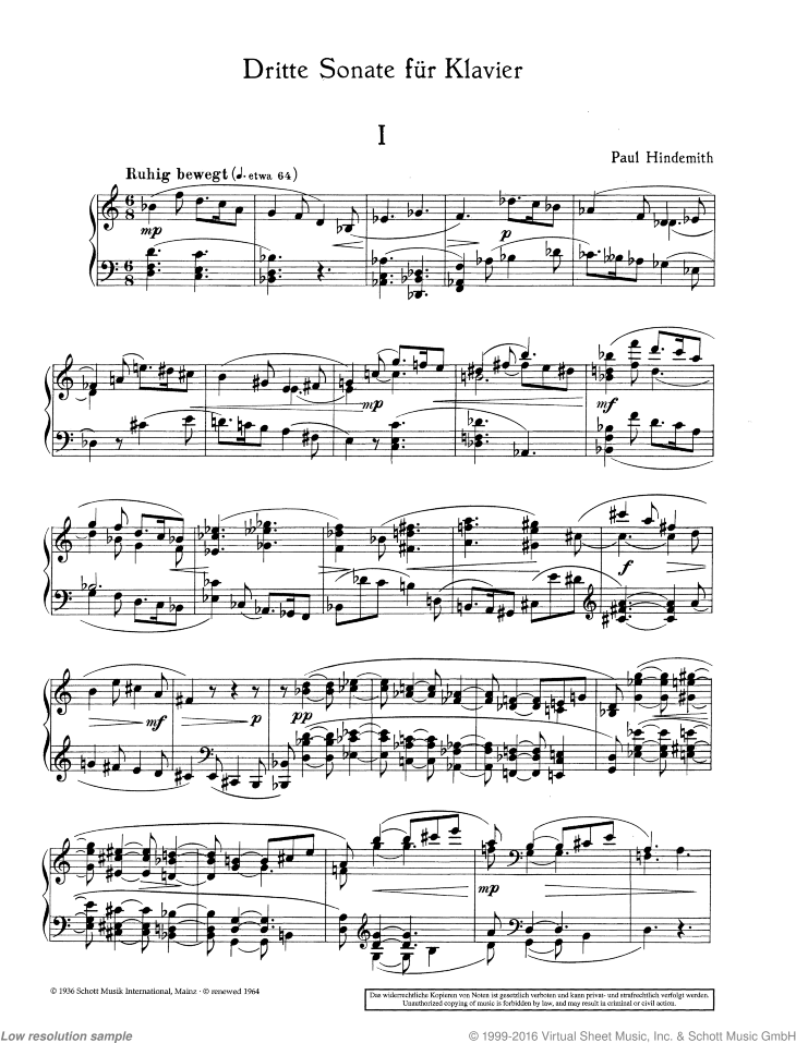 Sonata No. 3 sheet music for piano solo by Paul Hindemith, classical score, easy/intermediate skill level