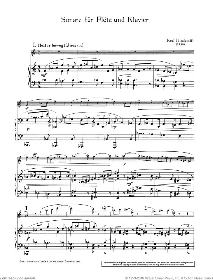 Sonata sheet music for flute and piano by Paul Hindemith, classical score, advanced skill level