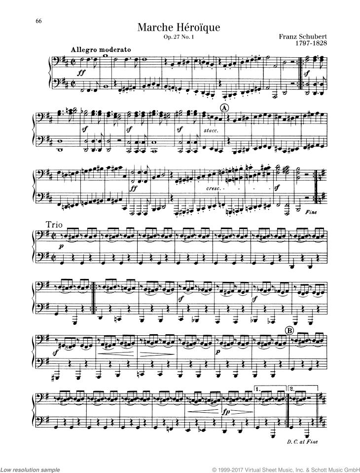 Marche Heroique in D major sheet music for piano four hands by Franz Schubert, classical score, easy/intermediate skill level