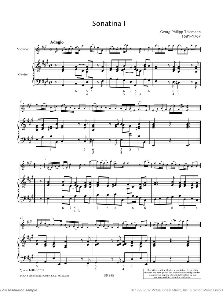 Sonatina in A major sheet music for violin and piano by Georg Philipp Telemann, classical score, easy/intermediate skill level