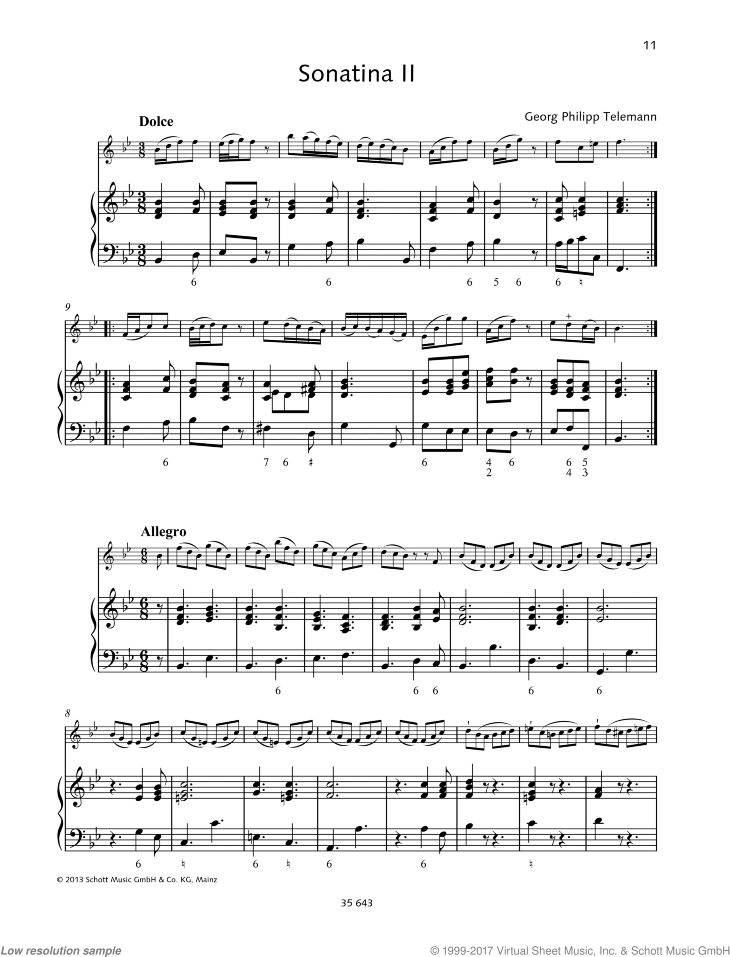 Sonatina in B-flat major sheet music for violin and piano by Georg Philipp Telemann, classical score, easy/intermediate skill level
