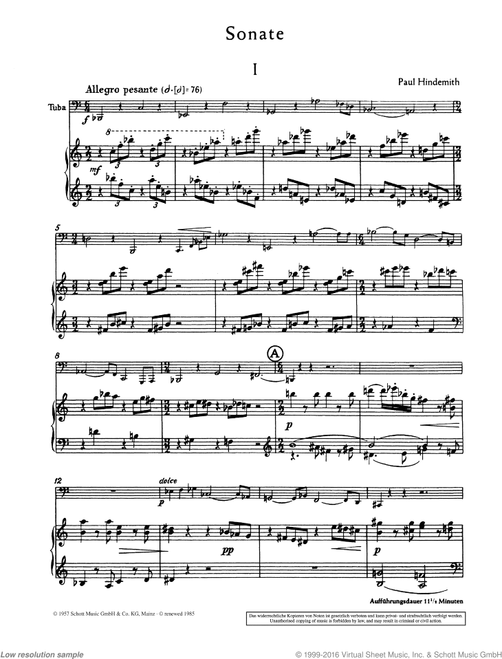 Sonata sheet music for tuba and piano by Paul Hindemith, classical score, advanced skill level