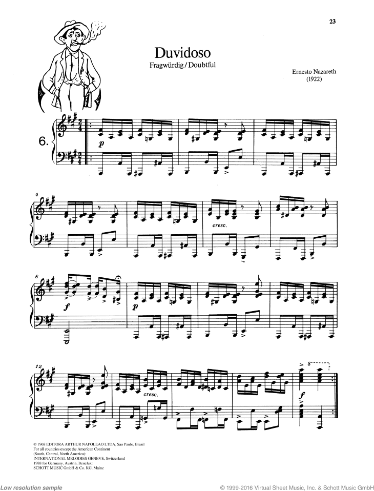 Duvidoso sheet music for piano solo by Nazareth, easy/intermediate skill level