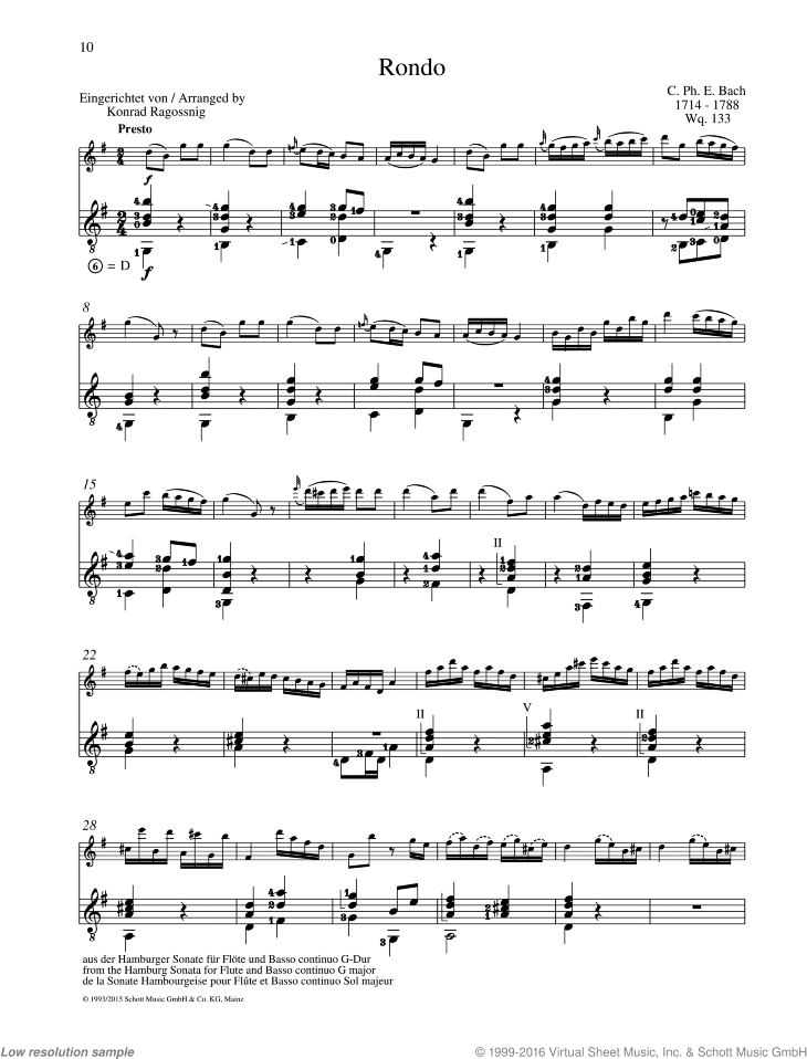 Bach - Rondo, from the Hambacher Sonata for Flute and Basso continuo G  major sheet music for flute and guitar
