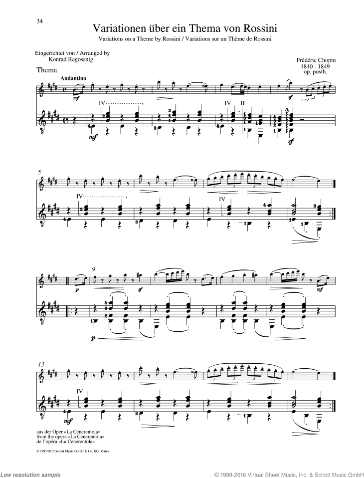 Variations on a Theme by Rossini sheet music for flute and guitar by Frederic Chopin, classical score, easy/intermediate duet