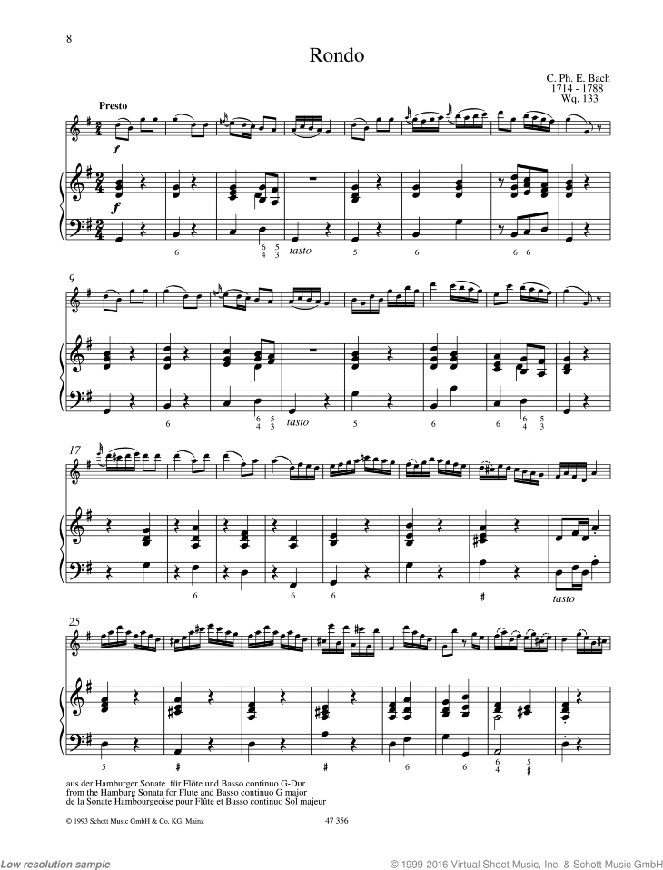 Rondo sheet music for flute and piano by Carl Philipp Emanuel Bach, classical score, easy/intermediate skill level