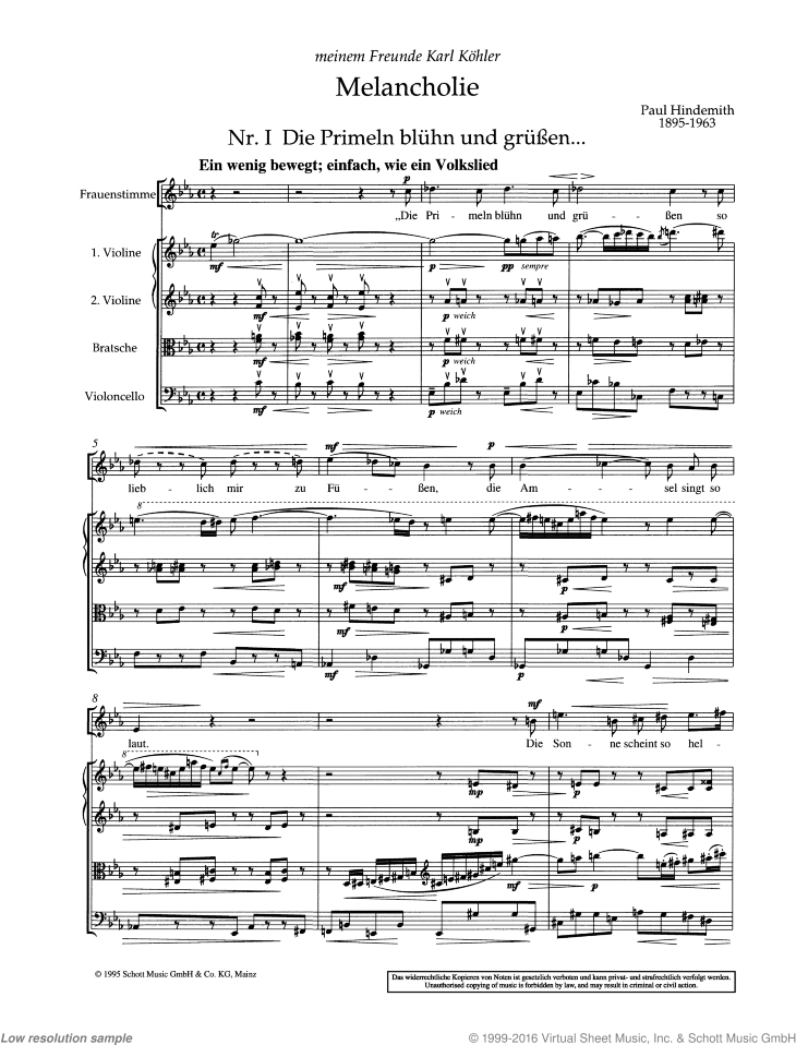 Melancholy sheet music for voice and string quartet by Paul Hindemith, classical score, advanced skill level