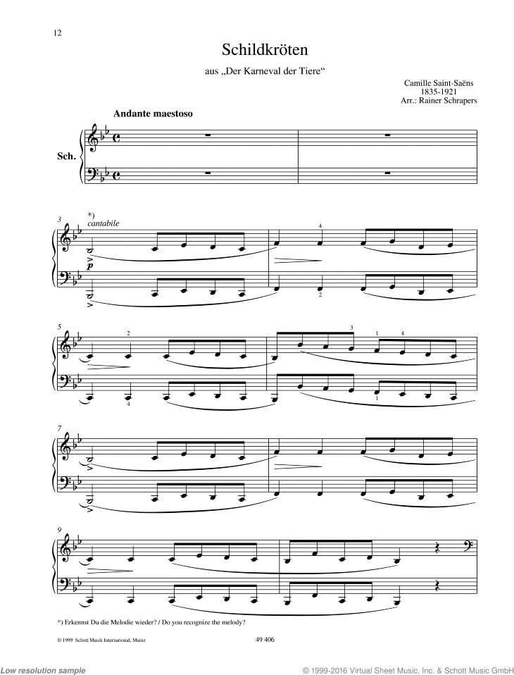 Tortoises sheet music for piano four hands by Camille Saint-Saens, classical score, easy skill level