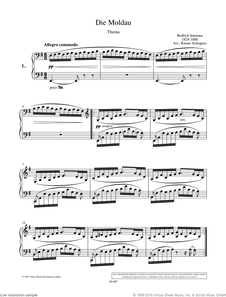 The Moldau sheet music for piano four hands by Bedrich Smetana, classical score, easy/intermediate skill level