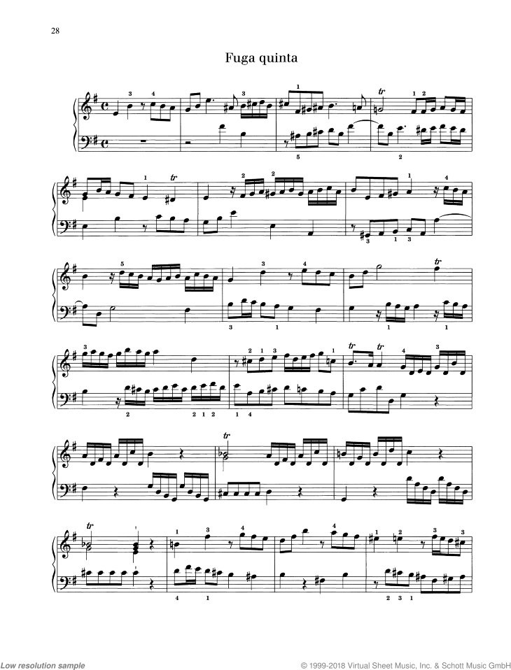 Fugue in E minor sheet music for piano solo by Georg Philipp Telemann, classical score, easy/intermediate skill level