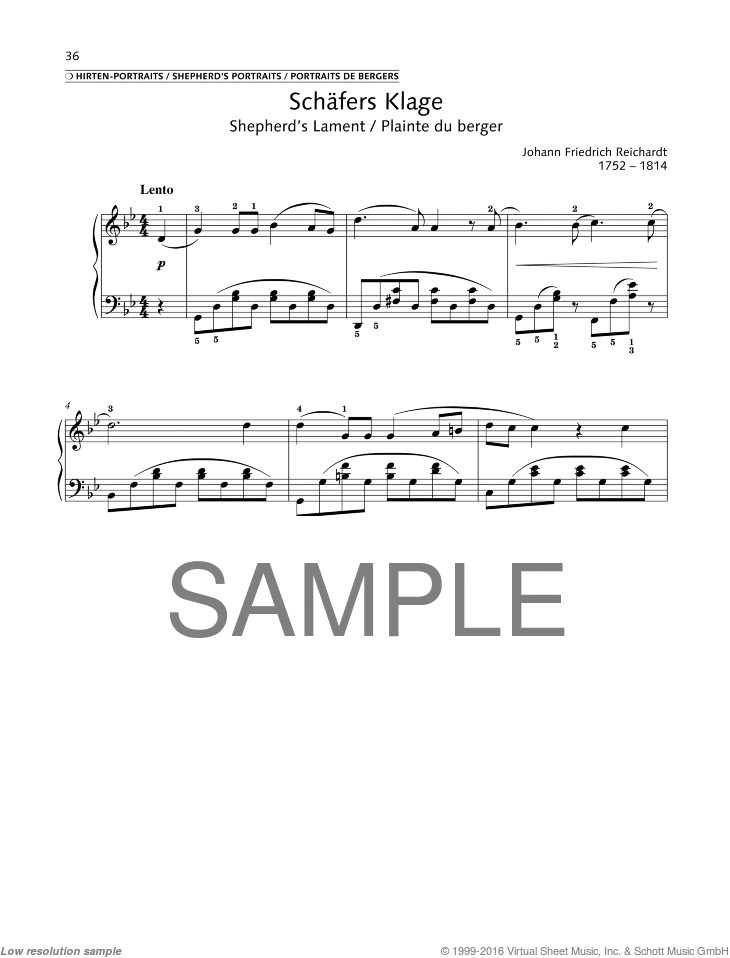 Shepherd's Lament sheet music for piano solo by Johann Friedrich Reichardt, classical score, easy/intermediate skill level
