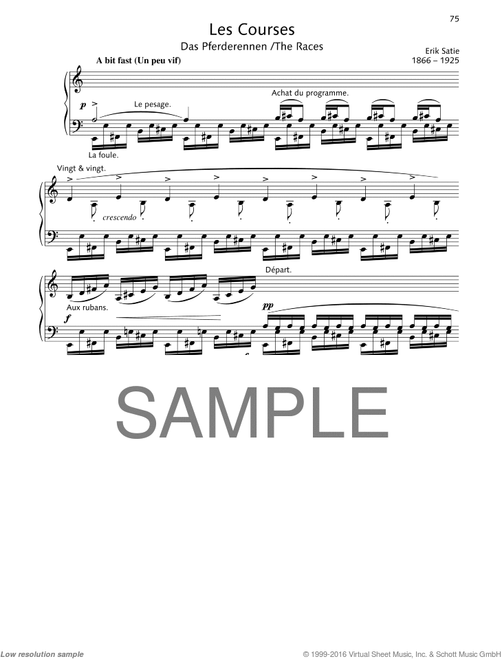 The Races sheet music for piano solo by Erik Satie, classical score, easy/intermediate skill level
