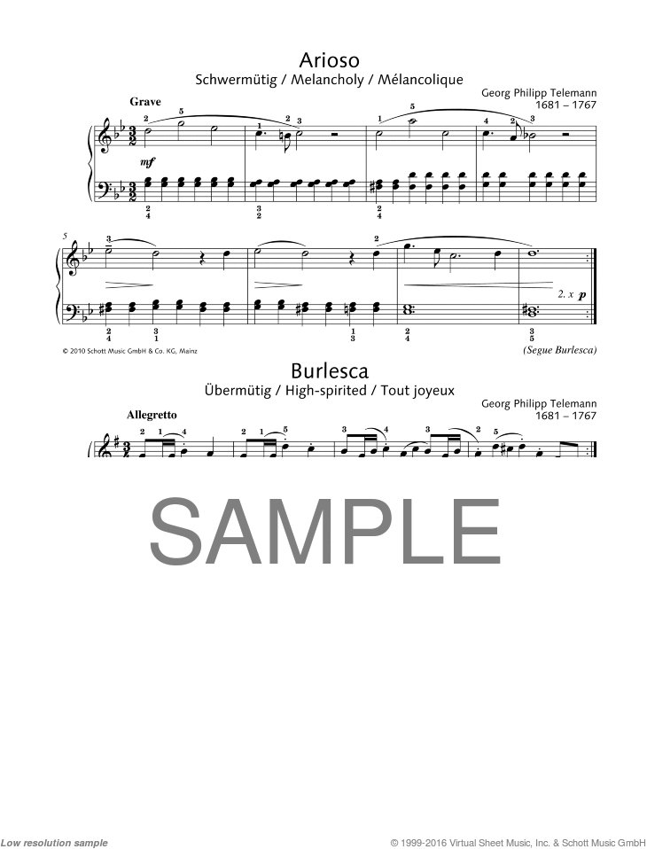 Arioso-Burlesca sheet music for piano solo by Georg Philipp Telemann, classical score, easy/intermediate skill level
