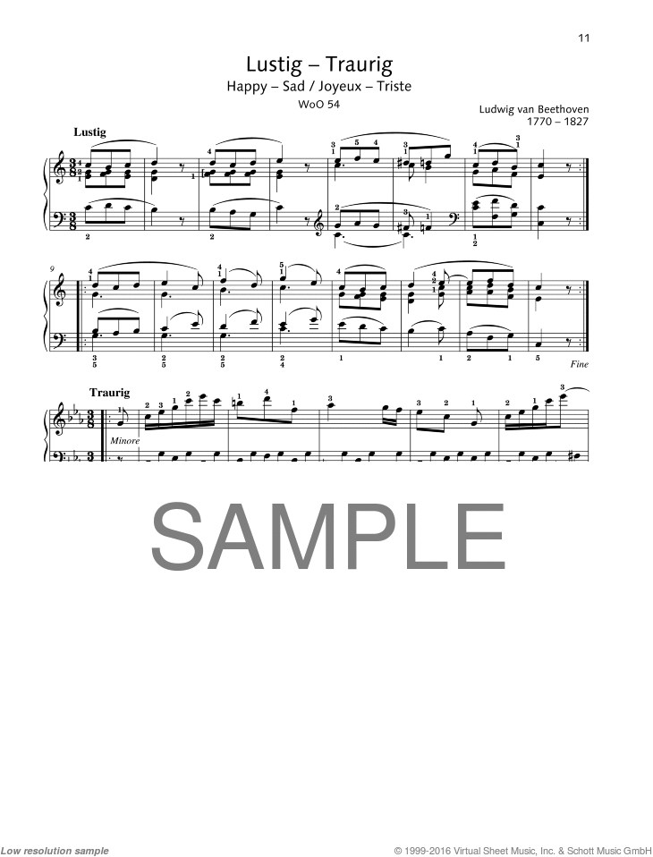 Happy-Sad sheet music for piano solo by Ludwig van Beethoven, classical score, easy/intermediate skill level