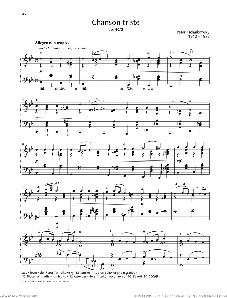 Chanson triste sheet music for piano solo by Pyotr Ilyich Tchaikovsky, classical score, easy/intermediate skill level