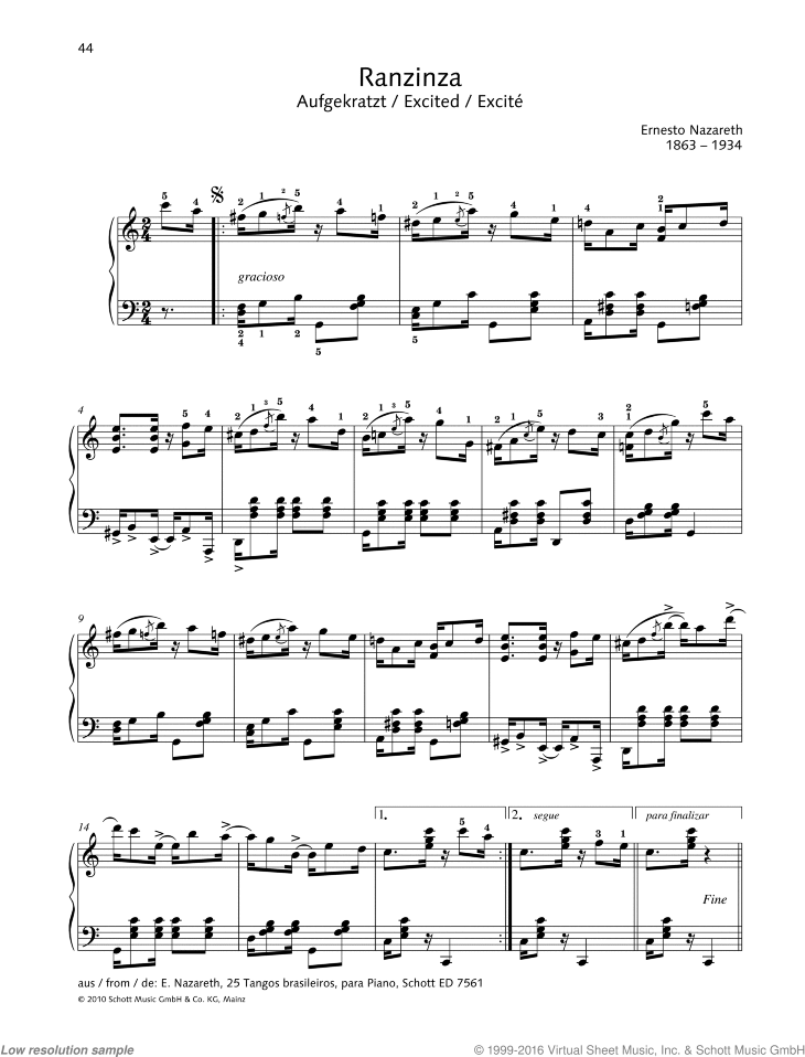 Excited sheet music for piano solo by Nazareth, classical score, easy/intermediate skill level