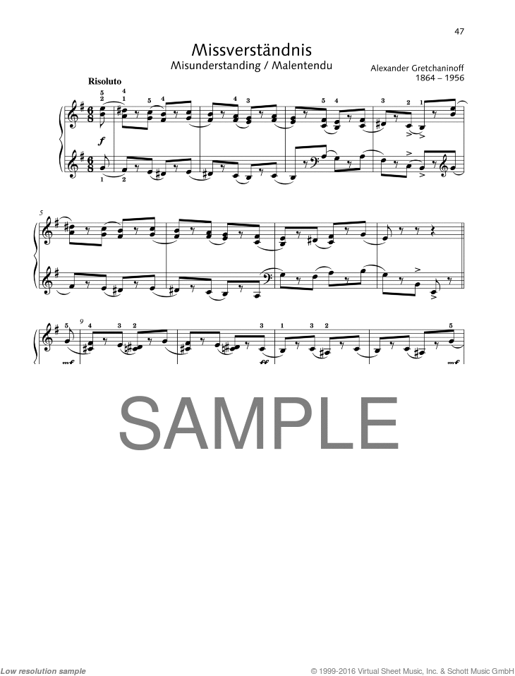 Misunderstanding sheet music for piano solo by Alexander Gretchaninoff, classical score, easy/intermediate skill level