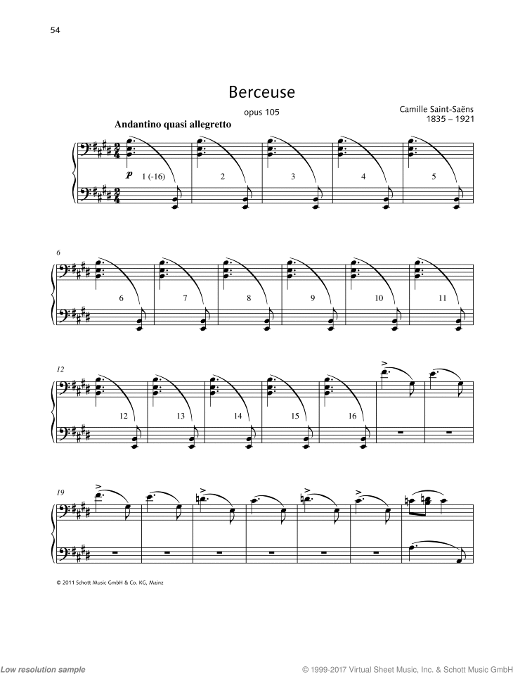 Berceuse sheet music for piano four hands by Camille Saint-Saens, classical score, easy/intermediate skill level