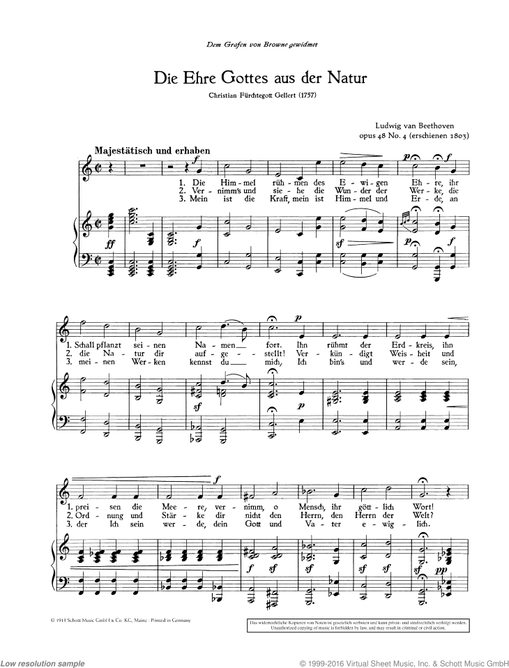 Die Ehre Gottes aus der Natur sheet music for mezzo-soprano and piano by Ludwig van Beethoven, classical score, easy/intermediate skill level