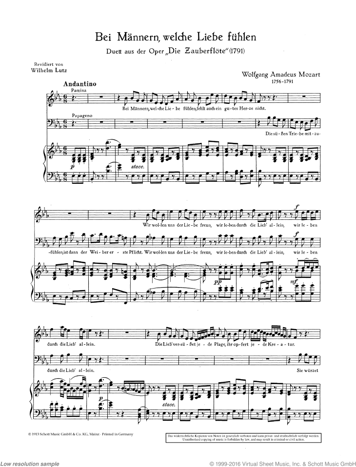 Bei Mannern sheet music for soprano, baritone and piano by Wolfgang Amadeus Mozart, classical score, easy/intermediate skill level