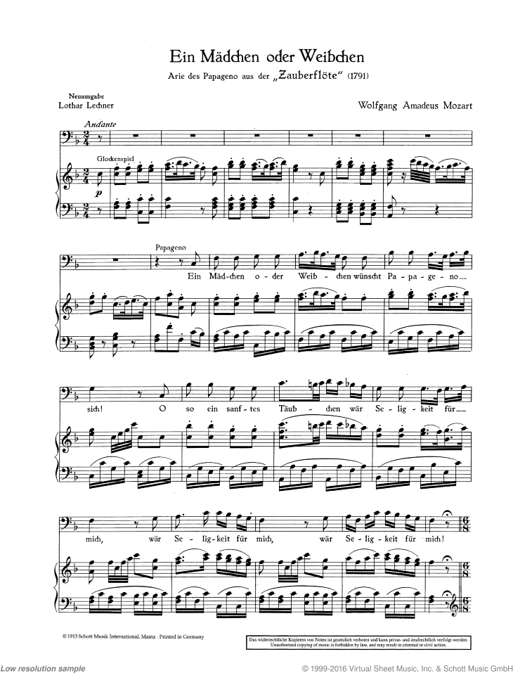 Ein Madchen oder Weibchen sheet music for baritone and piano by Wolfgang Amadeus Mozart, classical score, easy/intermediate skill level