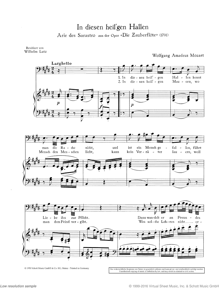 In diesen heil'gen Hallen sheet music for bass and piano by Wolfgang Amadeus Mozart, classical score, easy/intermediate skill level