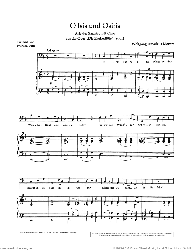 O Isis und Osiris sheet music for bass and piano by Wolfgang Amadeus Mozart, classical score, easy/intermediate skill level