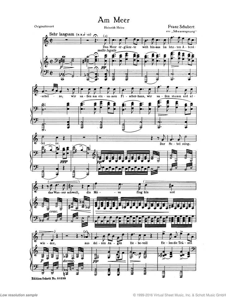 Am Meer sheet music for soprano and piano by Franz Schubert, classical score, easy/intermediate skill level