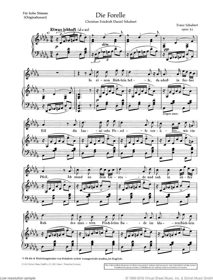 Die Forelle sheet music for soprano and piano by Franz Schubert, classical score, easy/intermediate skill level
