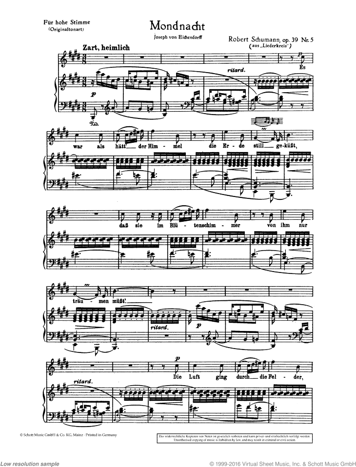Mondnacht sheet music for soprano and piano by Robert Schumann, classical score, easy/intermediate skill level