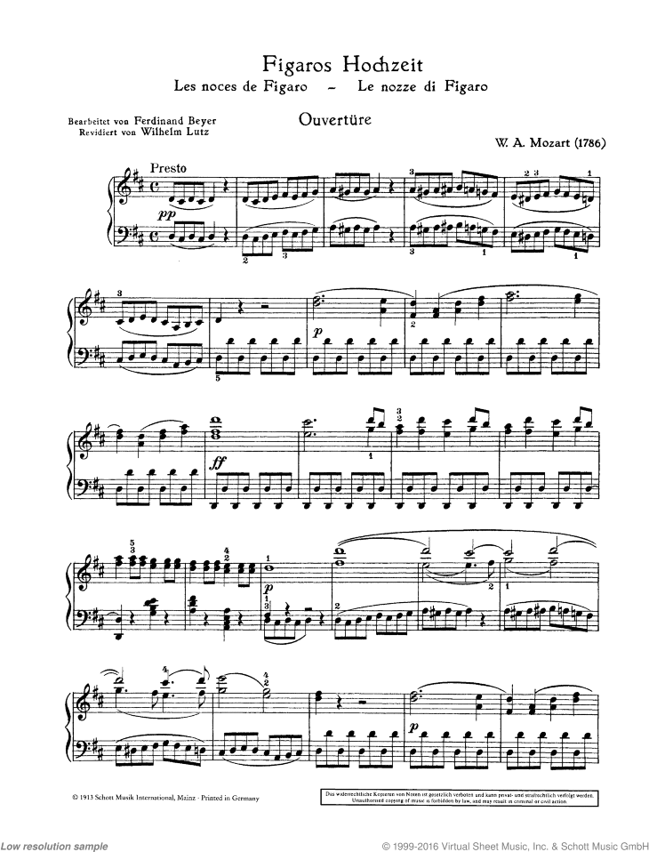 The Marriage of Figaro sheet music for piano solo by Wolfgang Amadeus Mozart, classical score, easy/intermediate skill level