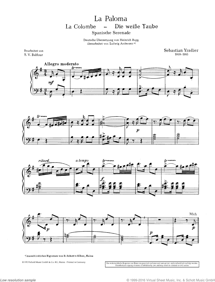 La Paloma sheet music for piano (with text) by Sebastian Yradier, classical score, easy/intermediate skill level