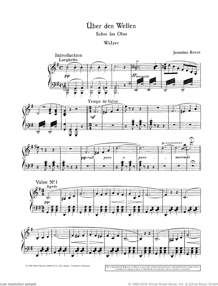 Over the Waves in G major sheet music for piano solo by Juventino Rosas, classical score, easy skill level