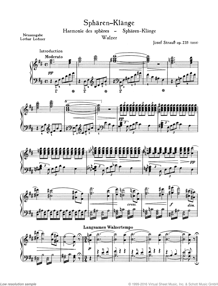 Spharen-Klange sheet music for piano solo by Josef Strauss, classical score, easy/intermediate skill level
