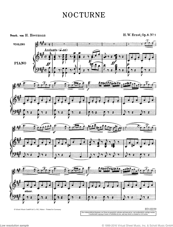 Nocturne sheet music for violin and piano by Heinrich Wilhelm Ernst, classical score, easy/intermediate skill level