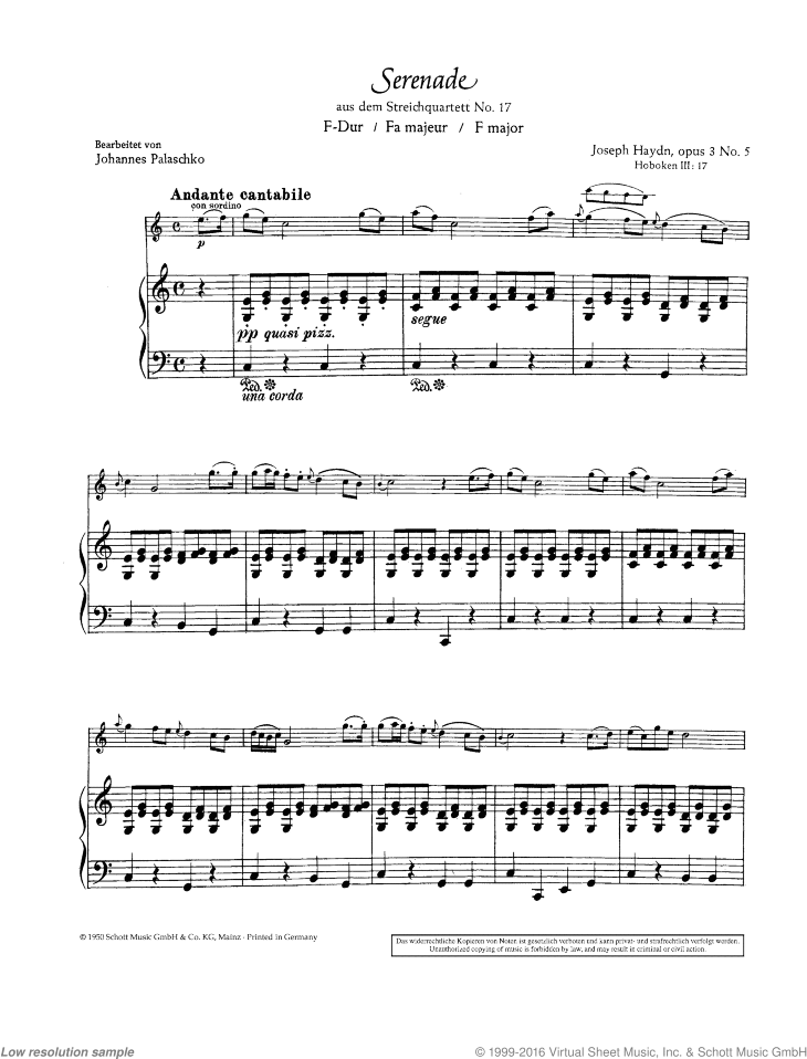 Serenade sheet music for violin and piano by Franz Joseph Haydn, classical score, easy skill level
