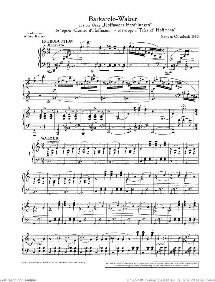 Barcole-Waltz sheet music for violin and piano by Jacques Offenbach, classical score, easy skill level