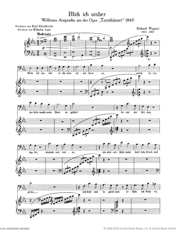 Blick ich umher from Der Tannhäuser - Score